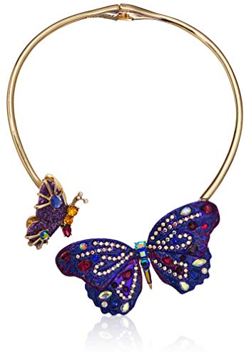 Betsey Johnson (GBG) Butterfly Hinged Collar Necklace, Purple, One Size