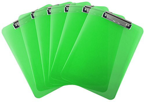 Trade Quest Plastic Clipboard Transparent Color Letter Size Low Profile Clip (Pack of 6) (Green)