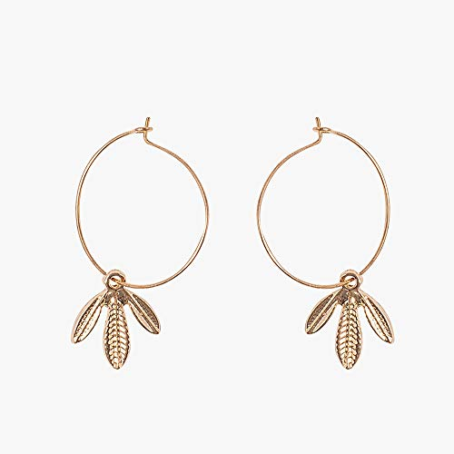 Fashion Gold Plated Light Weight Leaf Hoops Earrings & Pendant Jewelry For Women Girls