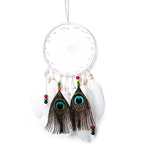 Handmade Dream Catcher For Kids Indian Wall Hanging Home and Garden Decor Ornament Craft (white)