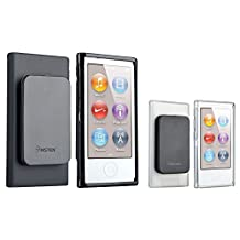 Insten Black TPU Rubber Case & Belt Clip + Clear TPU Rubber Case compatible with Apple iPod nano 7th Generation