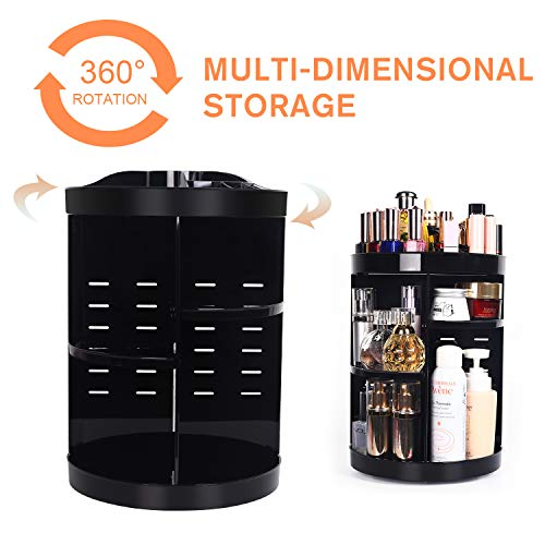 360 Degree Spinning Makeup Organizer, sanipoe Adjustable Makeup Carousel Round Rotating Storage Stand Rack, Large Ondisplay Shelf Cosmetics Organizer, Great for Countertop and Bathroom, Black