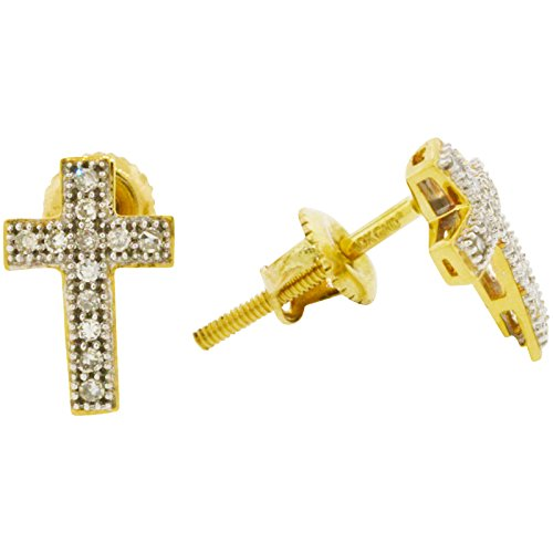 Men's 10k Two Tone Gold Diamond Cross Earrings (0.10ctw, I-J Color, I2-I3 Clarity), 9mm x 6mm by Shopjw