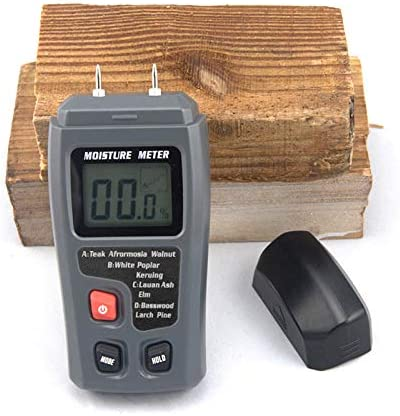EMT01 Two Pins Digital Wood Moisture Meter 0-99.9/% Wood Humidity Tester Timber Damp Detector with Large LCD Display