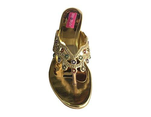 Style n Step Shoes-Sandali da donna con strass, motivo: etnico KOLHAURI KHUSSA JUTTI per scarpe