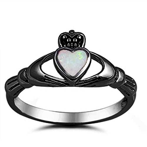 Black Claddagh Charms - Blue Apple Co. 925 Sterling Silver Claddagh Crown Ring Black Tone Heart Bezel Set Created White Opal, Size - 5
