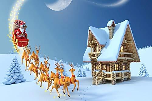 (Leyiyi 10x8ft Photography Background Merry Christmas Backdrop Happy New Year Cartoon Xmas Pine Reindeer Elk Sleigh Santa Cloaus Magic Snow Covered White World Cottage Photo Portrait Vinyl Studio Prop)