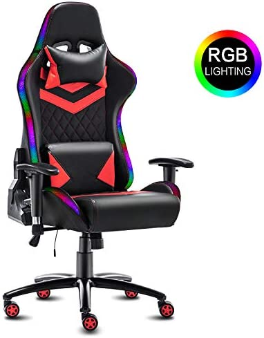 Modern-Depo High-Back Ergonomic Gaming Chair with RGB LED Lights, Headrest, Lumbar Support, Height Adjustable Swivel Recliner Office Desk Chair, Black Red