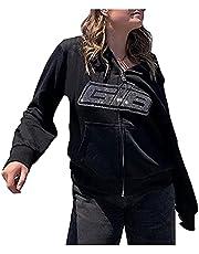 Damska bluza z kapturem z zamkiem błyskawicznym z długim rękawem Y2K, duży nadruk portretowy, troczek z długim rękawem, punk, gotycki, kurtka z kieszeniami