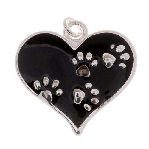 Delight Beads Silver Plated Black Enamel Animal Lover 2-Sided Heart Paw Print Charm 20mm (Black Enamel Animal)