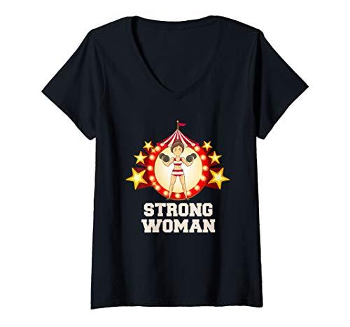 Womens Strong Woman TShirt Funny Circus Halloween Costumes Tee V-Neck T-Shirt]()