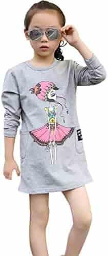 73024b8cbe1 Child Teenage Kids Girls Dresses Long Sleeve Cartoon Printed Princess Outfits  Clothes