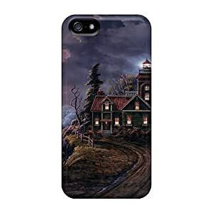 Top Quality Case Cover For Iphone 5/5s Case With Nice Artistic Storm House Wallpaper Appearance