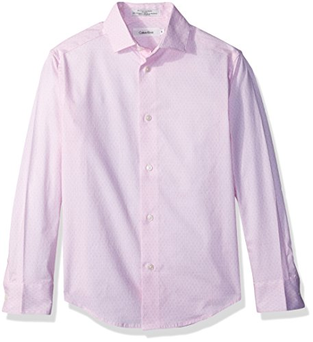 Calvin Klein Boys' Big Long Sleeve Dobby Woven Shirt, Peachwood, 18 (Cotton Dobby Dress Shirt)