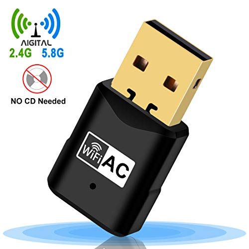 USB WiFi Adapter, Aigital 600Mbps Wi-Fi Network Adapter Dongle for PC/Desktop/Laptop - NO CD ROM Needed - Dual Band 5G/2.4G Mini Wireless Network Card for Windows XP/7/8/10/Vista & Mac OSX 10.6-10.13
