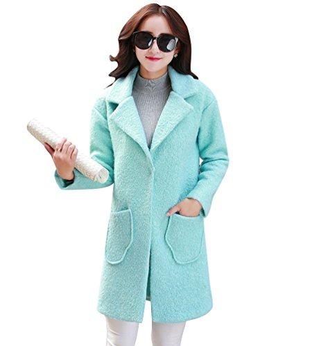 WanYang Mujer Grueso Abrigo Mujeres Elegante Chaqueta Abrigos de Lana Capa Jacket Invierno Parka Azul