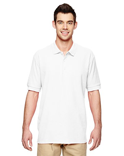 (Gildan Mens Premium Cotton Double Piqué Sport Shirt G828 -WHITE 5XL)