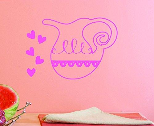 Design with Vinyl JER 1451 2 Vinyl Wall Decal Tea Kettle 16X16 Pink 14 x 28
