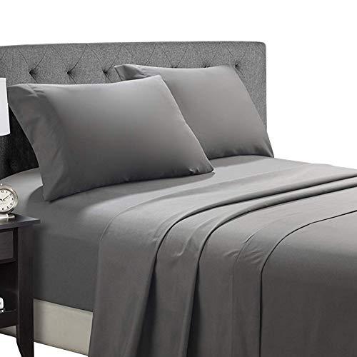 Bed Sheet Set (4-Piece) - Brushed Microfiber Bedding Sheet Set - Wrinkle Resistant Sheet Set - Fade and Stain Resistant Bedding Set - Hypoallergenic Bedspread Set - Dark Grey, King Sheet Size