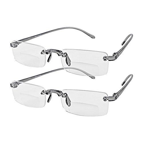 - Astra Depot Bifocal Unisex Stylish Frameless Rimless Reader Reading Glasses Eyewear +2.00 Includes Smoke Portable Hard Case (2 Pairs)