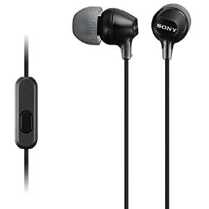 Sony MDREX15AP In-Ear Earbud Headphones with Mic, Black