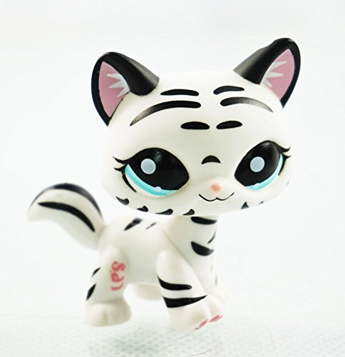 2'' Black & White Striped Cat Kids Toys Animals Littlest Pet Shop LPS 1498 ()
