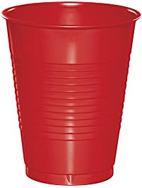 50-Count Touch of Color 16-Ounce Plastic Cups, Classic Red