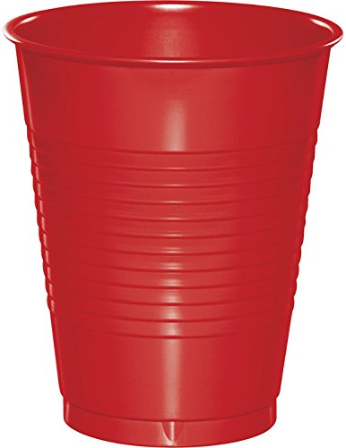 (50-Count Touch of Color 16-Ounce Plastic Cups, Classic Red)