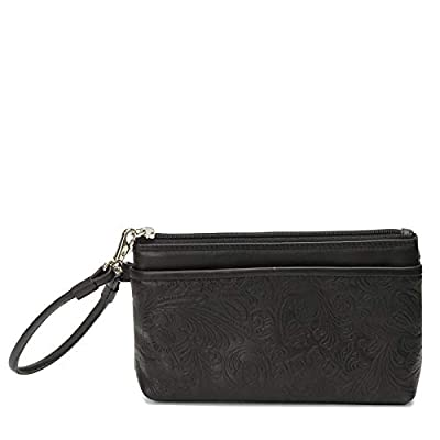 ili Leather 6577 Embossed Wristlet Handbag with RFID Lining