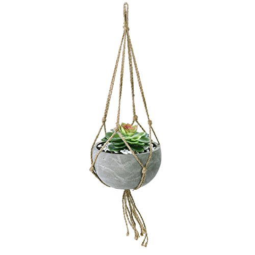MyGift Industrial Urban Clay Hanging Round Pot with Knotted Rope Hanger ()