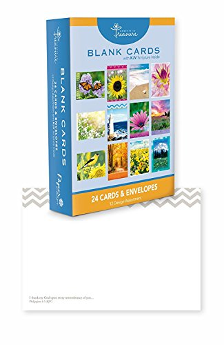 24 Count Boxed Cards w/ Scriptures - Blank Inside - Bulk Greeting Cards w/ KJV Scriptures. Envelopes Included