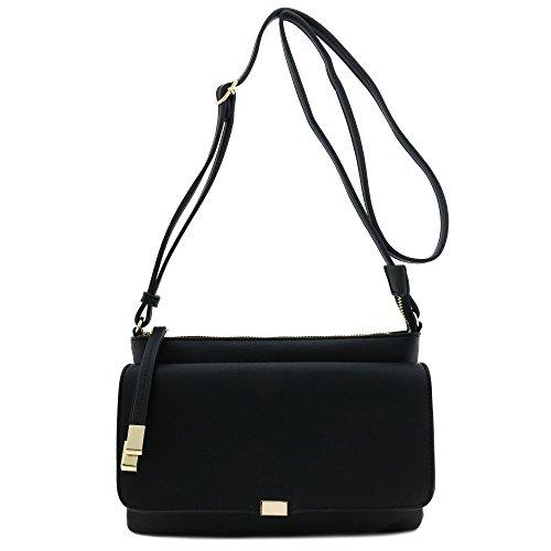 Half Flap Handbag - Half Flap Zip Top Crossbody Bag Black