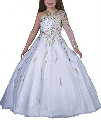 Hanayome Girls Pageant Flower Girl Wedding Gowns R131 white 12 by Hanayome