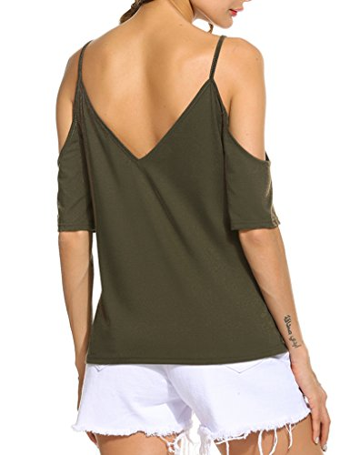 Naggoo Women's Criss Cross Top Low Cut Shirts Cold Shoulder T Shirts