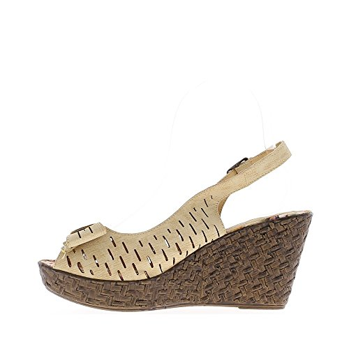 Cuneo taupe sandali con nodo al tacco 8, 5cm e vassoio