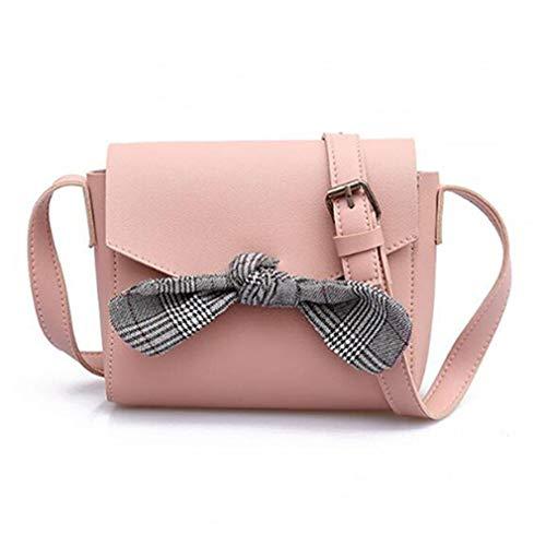 de de de de Bolso de Hombro Mujeres Brown Bolsa Las la Pink Hombro 20x18x14cm Bolso de Bowknot Mensajero AqwgdAO