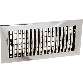 4 X 10 Chrome Contemporary Floor Register Vent Cover