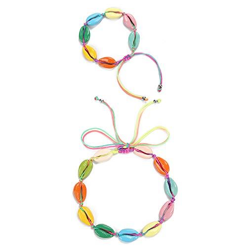 Shell Necklace Choker Rainbow Colorful Seashell Choker Adjustable Shell Anklet Bracelet Fashion Wakiki Hawaii Style Boho Beach Surfer Jewelry for Women Girls
