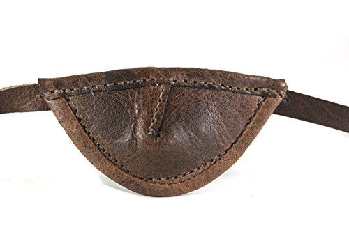 Leather Eyepatch. Slight Convex Eye Patch (Left Eye, Brown)
