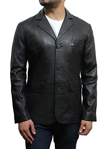 "Brandslock Mens Italian Lamb Skin Genuine Leather Blazer Jacket â–ºBest SELLERâ—"" (Large Fits Chest 40-42 inches, Black)"
