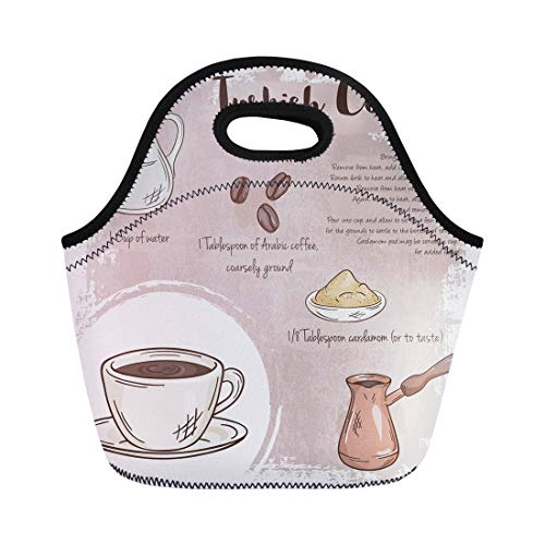 Semtomn Lunch Bags Bar Cup of Turkish Coffee Recipe List Ingredients Food Neoprene Lunch Bag Lunchbox Tote Bag Portable Picnic Bag Cooler Bag