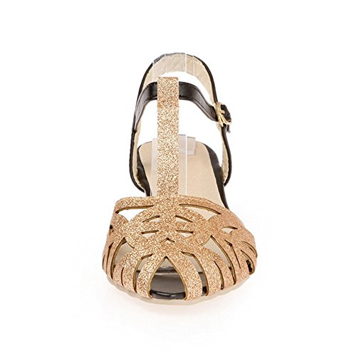 Femmes Grande Taille Gold en Chaussures TAOFFEN Bride Cuir PU Cheville Hq40Zw