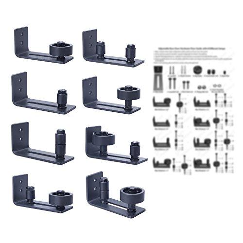 SMARTSTANDARD 8 Different Setup Options DIY Sliding Barn Door bottom Adjustable Floor Guide (Black)