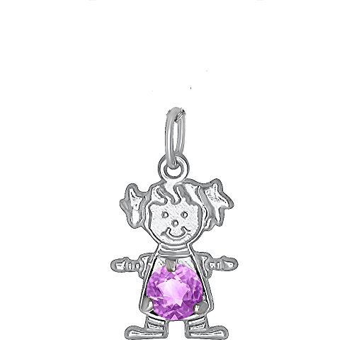 Sterling Silver CZ Simulated Birthstone Girl Charm Pendant for Baby and Children - June