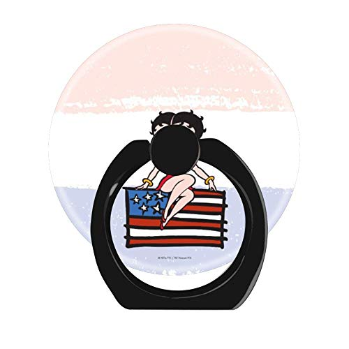 Lovesup Expanding 360 Rotation Cell Phone Socket Ring Holder,Mobilephone Kickstand Pop with Car Mount Grip for All Smartphones,Cases,Tablets-Americana Betty Boop Sitting On American Flag - Family Scale American