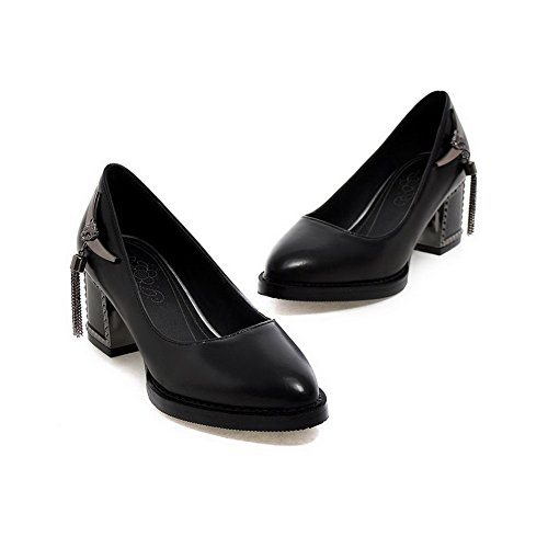 Allhqfashion Donna Pu Tacco A Spillo Tacco A Punta Tacco Alto Scarpe-scarpe Nere