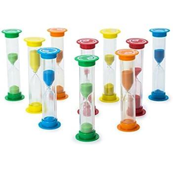 Sand Timer Set 10pcs Pack - 2x (30 Sec, 1 Min, 2 Min, 3 Min, 5 Min) - Colorful Set of Hour Glasses for Kids, Adults - Colors: Blue, Green, Red