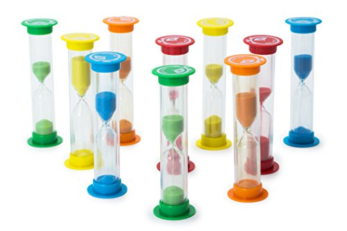 Sand Timer Set 10pcs Pack - 2x (30 Sec, 1 Min, 2 Min, 3 Min, 5 Min) - Colorful Set of Hour Glasses for Kids, Adults - Colors: Blue, Green, (Egg Timer 10 Minutes)