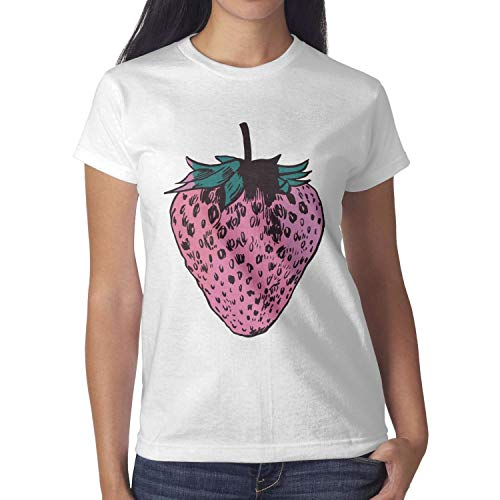 (Melinda Strawberry Illustration Women's t Shirts Fashion Pretty Women Cotton T-Shirts)