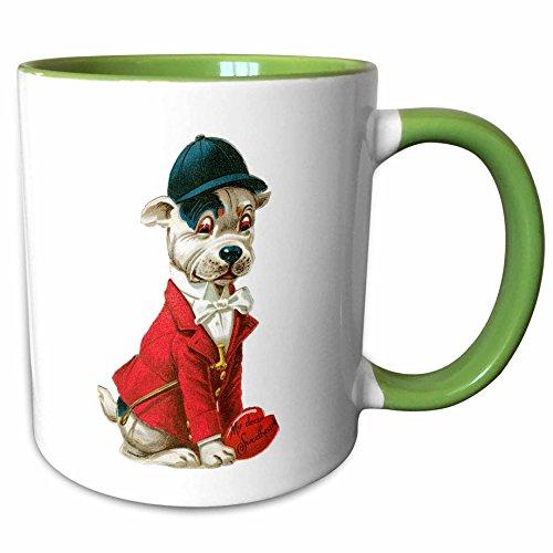 3dRose TNMPastPerfect Valentines - Jockey Dog Valentime - 11oz Two-Tone Green Mug - Whens Valentimes Day